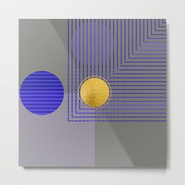 Golden Moon Blue Light On Grey Metal Print