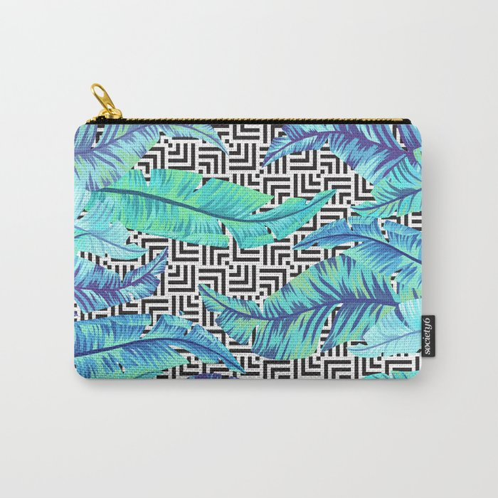 turquoise tropical leaves Carry-All Pouch