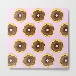 Donut Pattern - Pink Metal Print