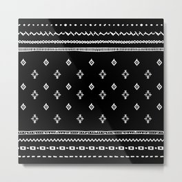 Rhombus & Lines White on Black Metal Print