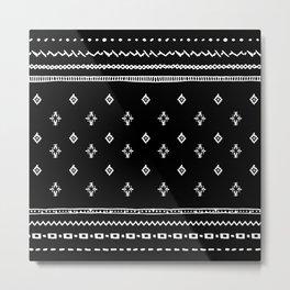 Rhombus & Lines White on Black Metal Print