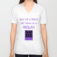 pagan V-neck T-shirts featuring Son of a... my Mom is a Witch! Pagan Wiccan Wicca by Cheeky Witch
