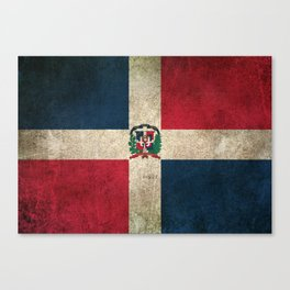 Old and Worn Distressed Vintage Flag of Dominican Republic Canvas Print