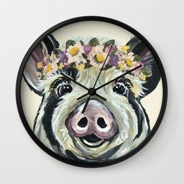 Pig Art, Flower Crown Pig, Farm Animal Wall Clock