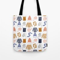 knitting Tote Bags featuring Knitting by Holly Dunn Design