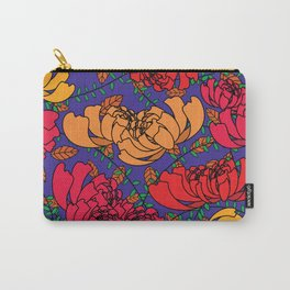 Flowery Pattern Blue Magenta Carry-All Pouch