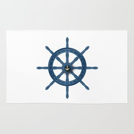 Ship Wheel Blue Rudder Rug