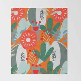Cacti, fruits and flowers Throw Blanket