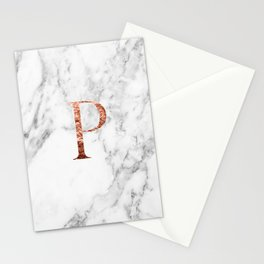 Monogram rose gold marble P Stationery Cards