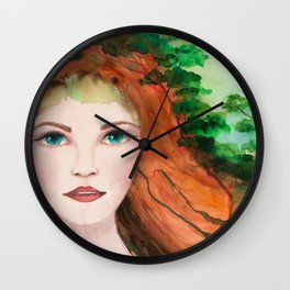 Watercolors redhead girl portrait with trees painting Wall Clock