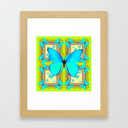 Turquoise Satin Butterflies On Lime & Cream Colors Framed Art Print