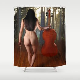 0182-JC Nude Cellist with Her Cello and Bow Naked Young Woman Musician Art Sexy Erotic Sweet Sensual Shower Curtain