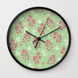 Berry Merry Holiday Pattern Wall Clock