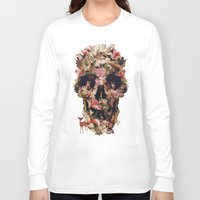 ali Long Sleeve T-shirts featuring Jungle Skull by Ali GULEC