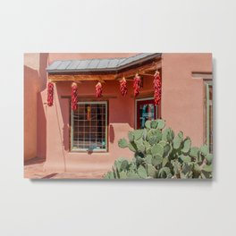 Shop with cactus and red chile ristras in Old Town Albuquerque, New Mexico Metal Print