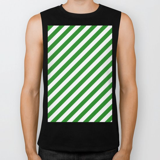 Diagonal Stripes (Forest Green/White) Biker Tank