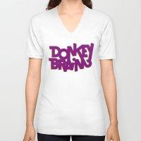 donkey V-neck T-shirts featuring Donkey Brain by Josh LaFayette