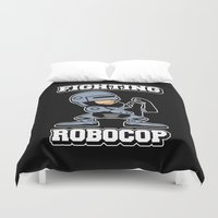 robocop Duvet Covers featuring Fighting Robocop by Buby87