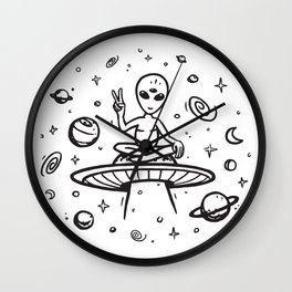 hello earthlings Wall Clock