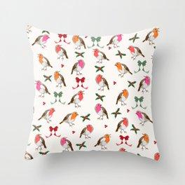 Christmas Robins pattern Throw Pillow