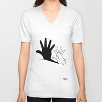 hand V-neck T-shirts featuring Rabbit Hand Shadow by Mobii
