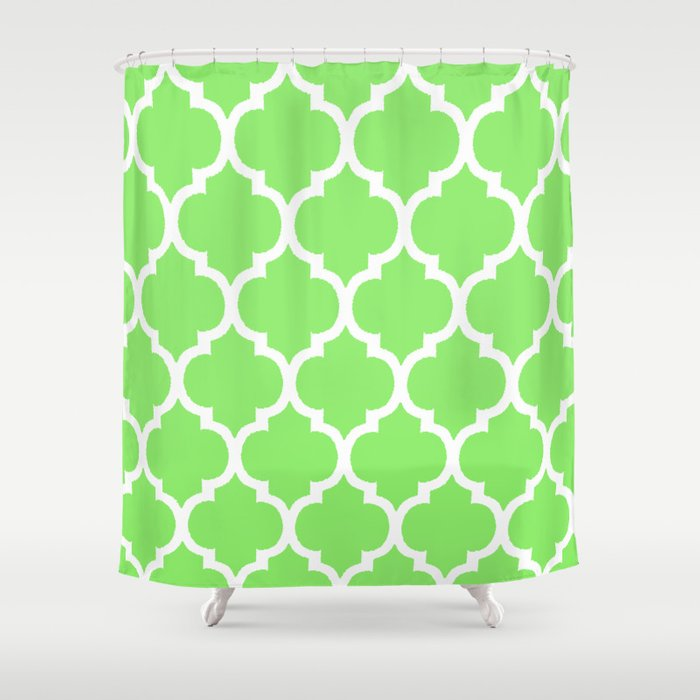 MOROCCAN LIME GREEN AND WHITE PATTERN Shower Curtain