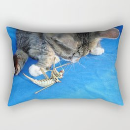 Young Male Tabby Cat Playing With It's Prey Rectangular Pillow