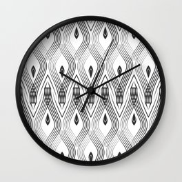 Art Deco 56 . black and gray spiral . Wall Clock