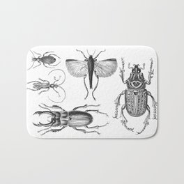Vintage Beetle black and white drawing Bath Mat