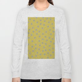 Simply Dots Retro Gray on Mod Yellow Long Sleeve T-shirt