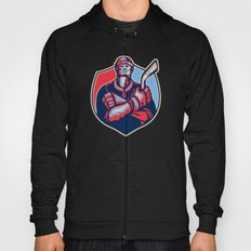Ice Hockey Player Front With Stick Retro Hoody