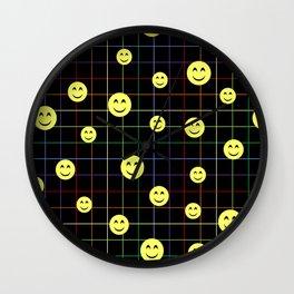 Colorful Smiley Emoji 4 - black Wall Clock