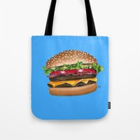 junk food Tote Bags featuring junk food - burger by Bleachydrew