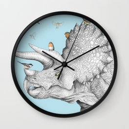 Triceratops and Birdies Wall Clock