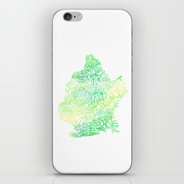 Typographic Brooklyn - Green Watercolor map art iPhone Skin