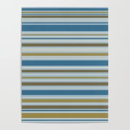 Stripey Design Gold Cream Brown Blues Poster