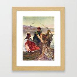 Peter and Jesus Fishing Framed Art Print