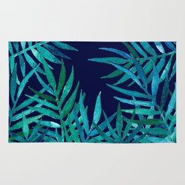Watercolor Palm Leaves on Navy Rug