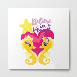 Is it a seahorse? Is it a unicorn? It is magic Metal Print