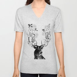 The Stag and Roses | Deer and Flowers | Vintage Stag | Vintage Deer | Antlers | Black and White | Unisex V-Neck