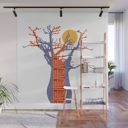 African Baobab tree of life at Sunset Wall Mural