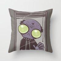 the office Throw Pillows featuring Office Zombie by John Schwegel