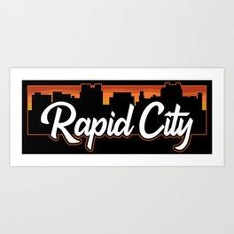 Vintage Rapid City South Dakota Sunset Skyline T-Shirt Art Print