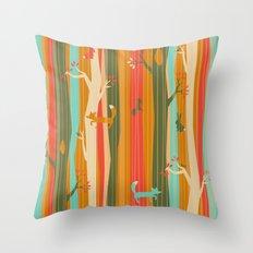 Woodland Stripe Orange Throw Pillow