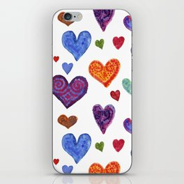 Colorful hearts. Festive background of watercolor hearts! iPhone Skin