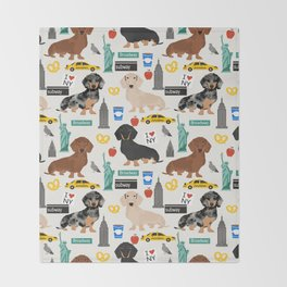 Dachshund dog breed NYC new york city pet pattern doxie coats dapple merle red black and tan Throw Blanket
