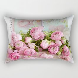 Shabby Chic Cottage Pink Floral Ranunculus Peonies Roses Print Home Decor Rectangular Pillow