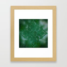 bright opal green lace star Framed Art Print