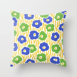 Mid Century Modern Wild Flowers Blue and Green 391 Throw Pillow