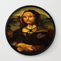 mona lisa Wall Clocks featuring Mona Lisa by Robert Morris